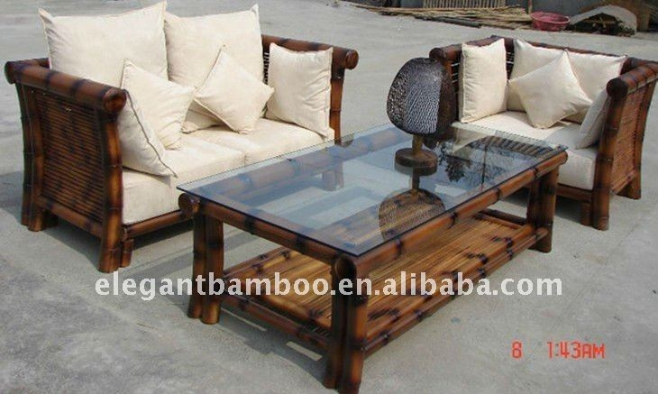 Bamboo Sofa Sets With Antique Charcoal Smoke Color Buy Wooden definitely with regard to Bambo Sofas (Image 8 of 20)
