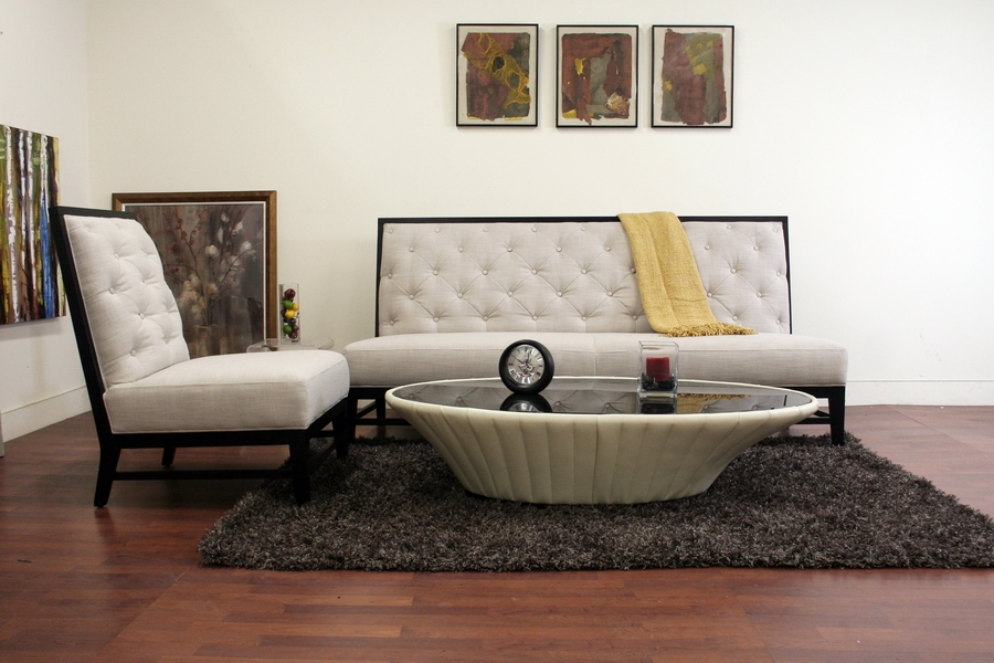 Baxton Studio Bristol Tufted Gray Linen Modern Sofa Set clearly throughout Sofa and Chair Set (Image 5 of 20)