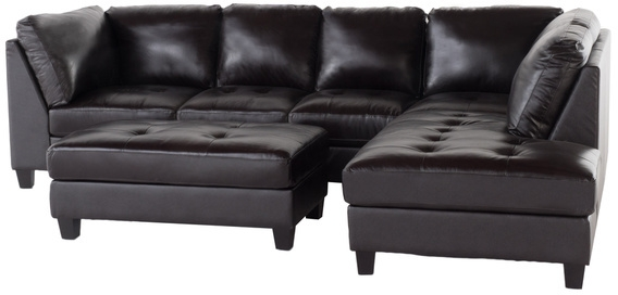 Baxton Studio Diana Dark Brown Leather Sectional Sofa Set effectively pertaining to Diana Dark Brown Leather Sectional Sofa Set (Image 2 of 20)