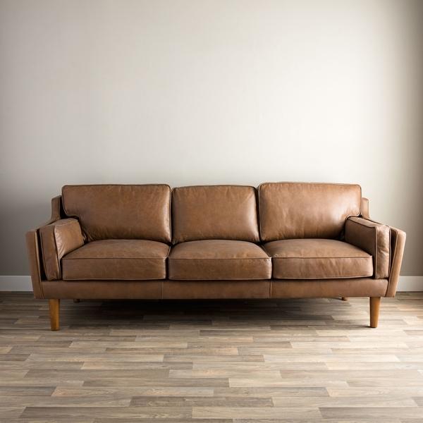 Beatnik Oxford Leather Tan Sofa I Love Living Tan Sofa well inside Oxford Sofas (Image 1 of 20)
