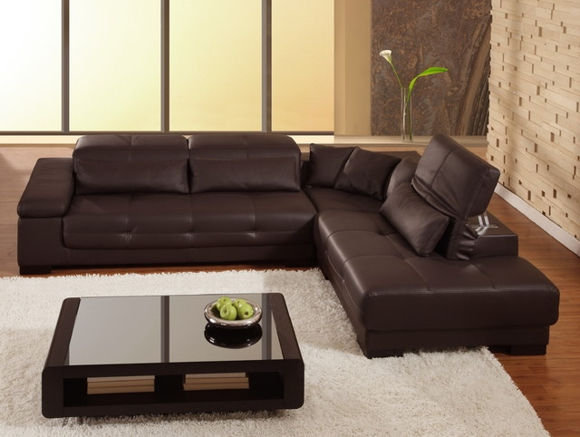 Beautiful Brown Leather Sectional Sofa Diana Dark Brown Leather definitely throughout Diana Dark Brown Leather Sectional Sofa Set (Image 5 of 20)