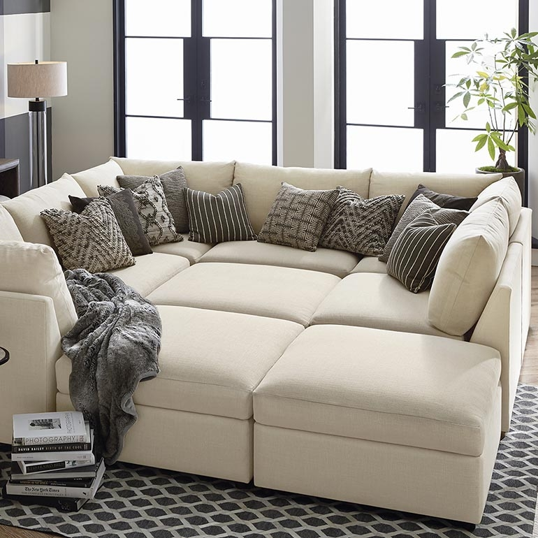 Beckham Upholstered Pit Sectional Living Room Bassett Furniture perfectly with regard to Pit Sofas (Image 4 of 20)