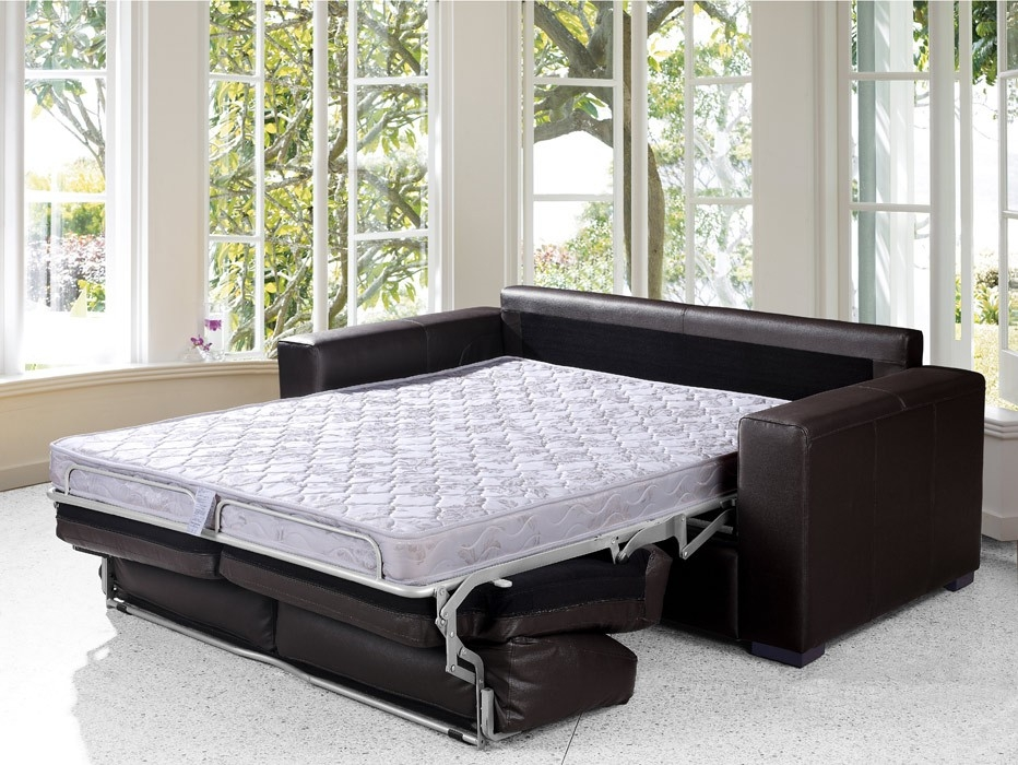 Bedroom Amazing Black Eco Leather Sofa Bed Modern Futons New York very well inside Luxury Sofa Beds (Image 2 of 20)