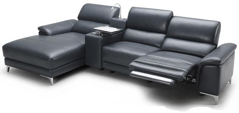 Bedroomdiscounters Sectional Sofa Sets well with regard to Contemporary Black Leather Sectional Sofa Left Side Chaise (Image 7 of 20)
