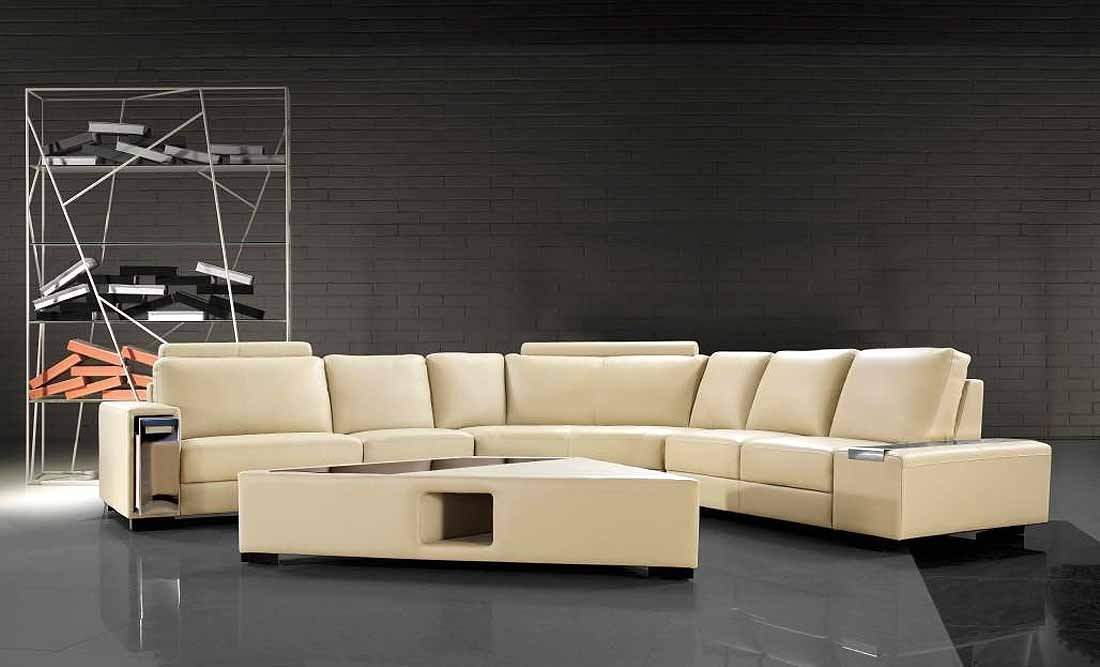 Beige Sectional Sofa With Coffee Table Leather Sectionals nicely throughout Coffee Table For Sectional Sofa (Image 2 of 20)