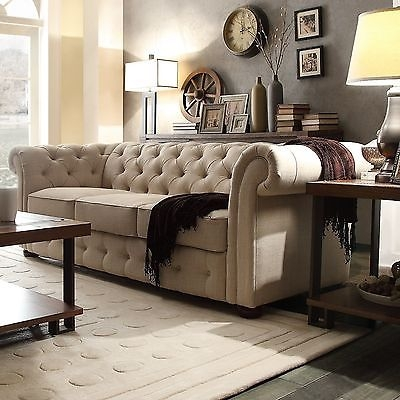 Beige Sofa Rolled Arm Couch Vintage Button Tufted Linen Living definitely in Tufted Linen Sofas (Image 3 of 20)
