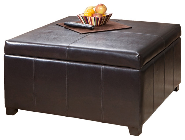 Berkeley Espresso Leather Storage Ottoman Coffee Table good intended for Brown Leather Ottoman Coffee Tables With Storages (Image 9 of 20)