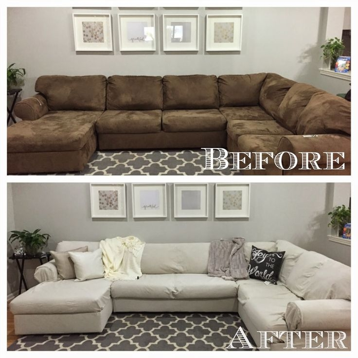 Best 25 Sectional Couch Cover Ideas On Pinterest Diy Living Most Certainly Intended For Slipcover For Leather Sectional Sofas (View 5 of 20)