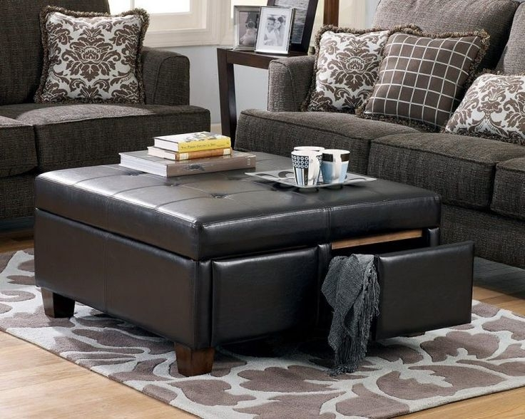 Featured Photo of Brown Leather Ottoman Coffee Tables With Storages