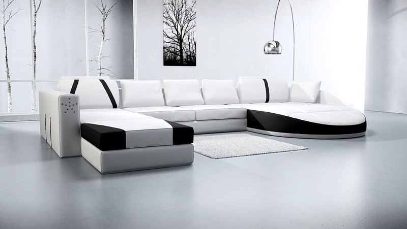 Big White Leather Corner Sofa Soft Line Leather Sofas Lorenzo properly within Unique Corner Sofas (Image 4 of 20)