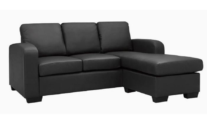 Black Eden Leather 3 Seater Sofa Lounge Couch Chaise very well regarding Black 2 Seater Sofas (Image 9 of 20)