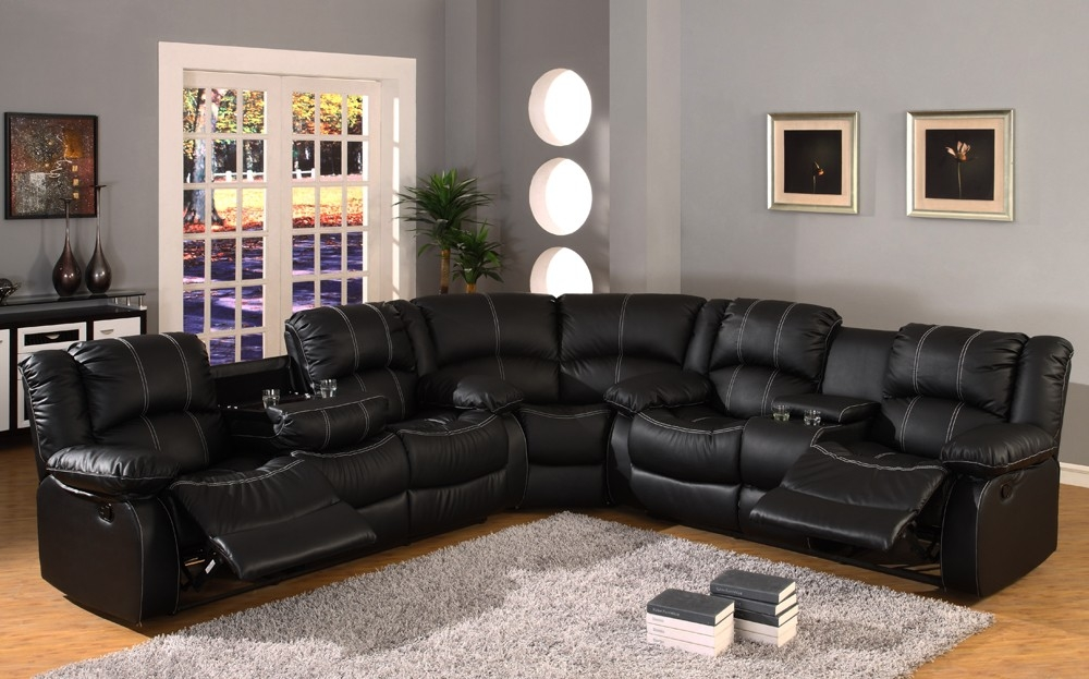Black Leather Reclining Sectional Sofa Babe We Need To Get certainly intended for Large Black Leather Corner Sofas (Image 4 of 20)