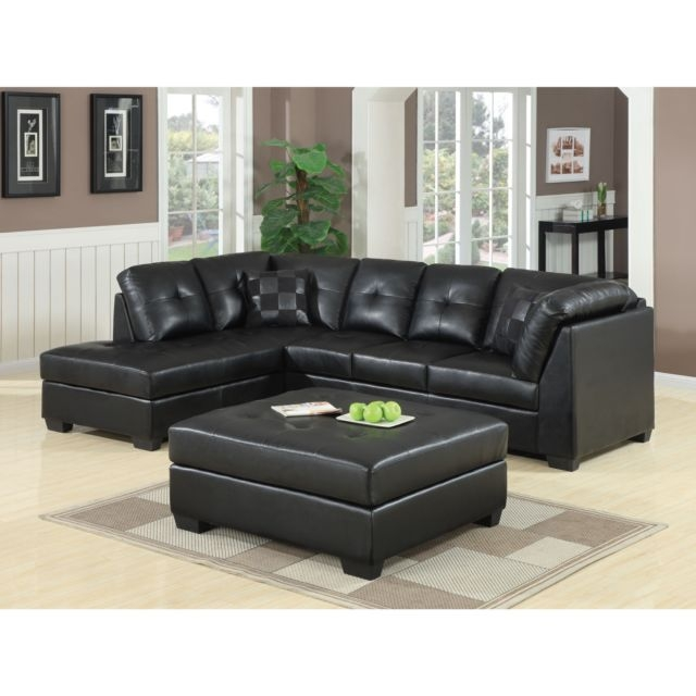 Featured Photo of Contemporary Black Leather Sectional Sofa Left Side Chaise