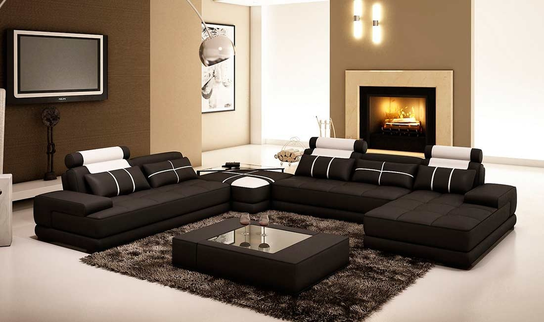 Black Leather Sectional Sofa With Coffee Table Vg005d Leather good pertaining to Coffee Table for Sectional Sofa (Image 7 of 20)