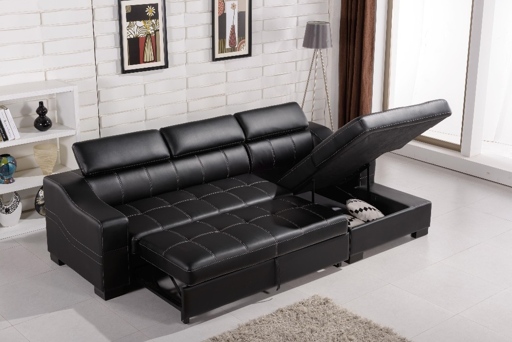 Black Leather Sofa Bed With Storage Hereo Sofa very well within Leather Sofa Beds With Storage (Image 3 of 20)