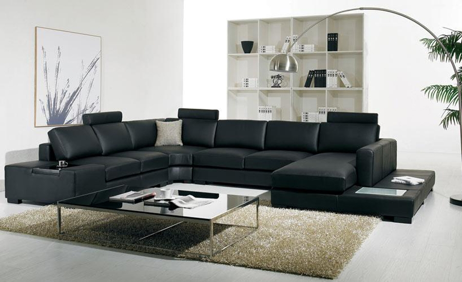 Black Leather Sofa Modern Large Size U Shaped Sofa Set With Light most certainly throughout Large Black Leather Corner Sofas (Image 5 of 20)