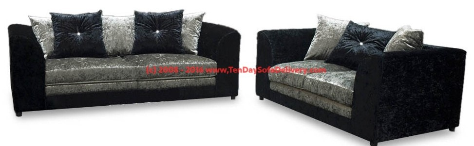 Bling Crushed Velvet Swivel Cuddle Chairs Ten Day Sofa Delivery properly regarding 3 Seater Sofa And Cuddle Chairs (Image 13 of 20)