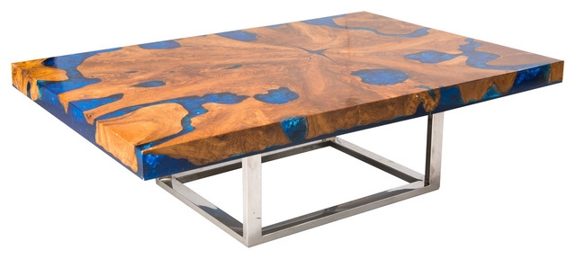 Blue Cracked Resin Coffee Table Modern Coffee Tables Aire well pertaining to Blue Coffee Tables (Image 6 of 20)