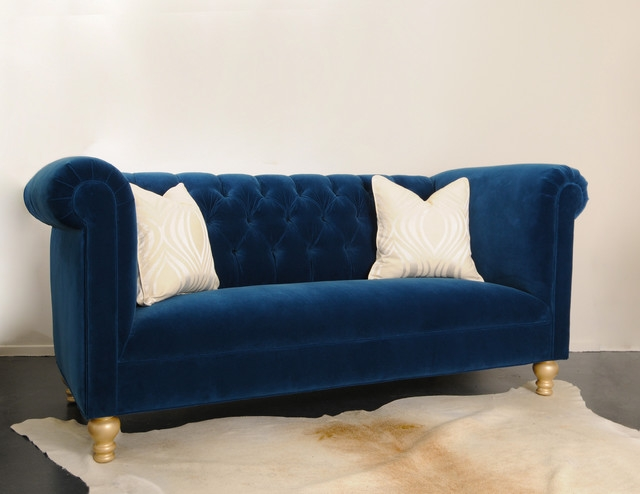 Blue Tufted Sofa clearly for Blue Tufted Sofas (Image 7 of 20)