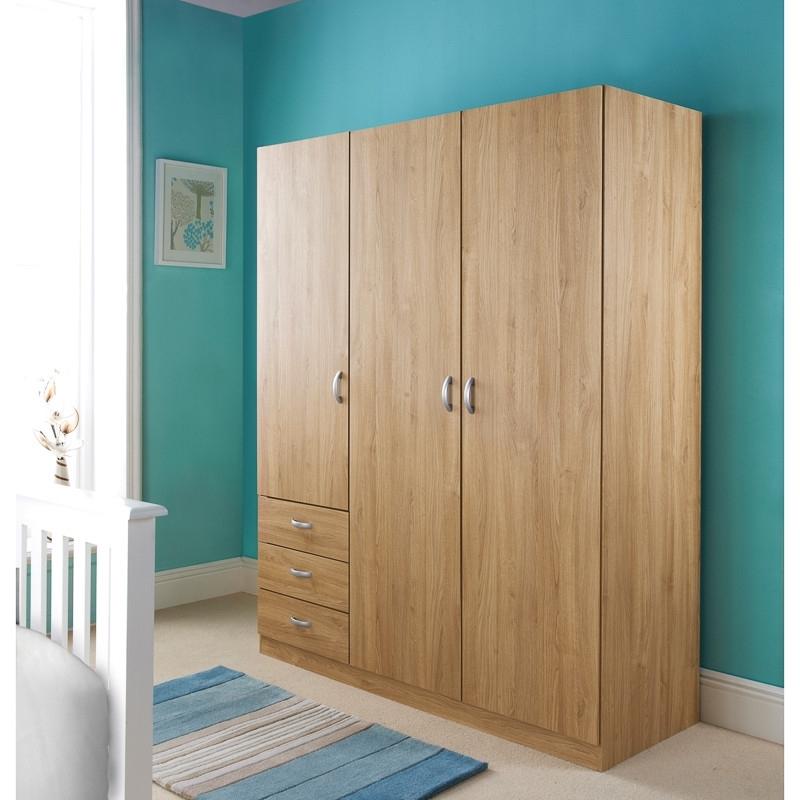 Bm Copenhagen 3 Door 3 Drawer Wardrobe 283837 Bm clearly inside 3 Door Wardrobe With Drawers And Shelves (Image 7 of 30)