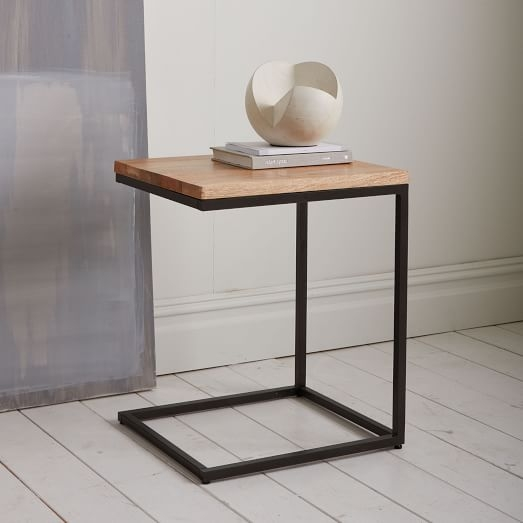 Box Frame C Base Side Table Rustic Mangoantique Bronze West Elm properly within C Coffee Tables (Image 10 of 20)