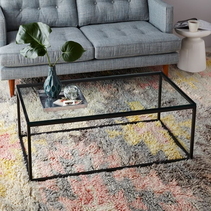 Box Frame Coffee Table Glassantique Bronze West Elm most certainly with regard to Metal And Glass Coffee Tables (Image 5 of 20)