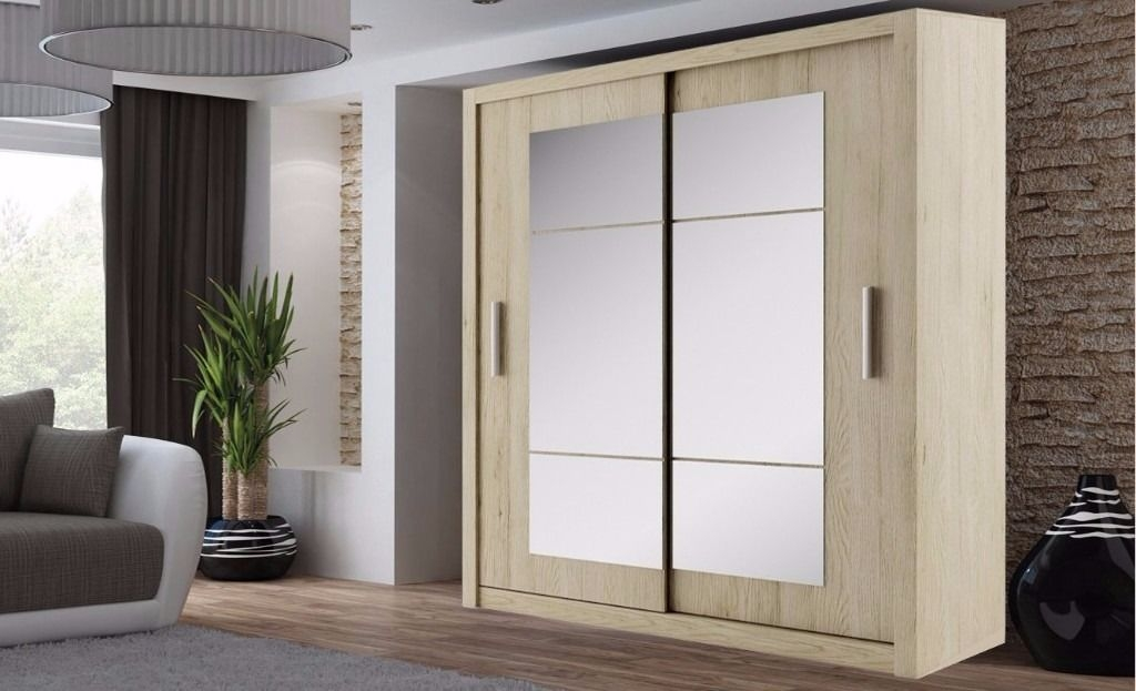 Brand New German Boston 2 Door Sliding Wardrobe With Mirrors effectively throughout Double Rail Wardrobes (Image 8 of 20)
