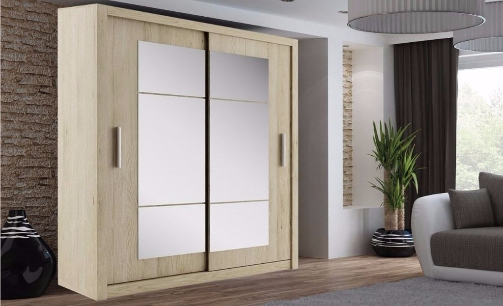 Brand New German Boston 2 Door Sliding Wardrobe With Mirrors effectively throughout Large Double Rail Wardrobes (Image 16 of 30)