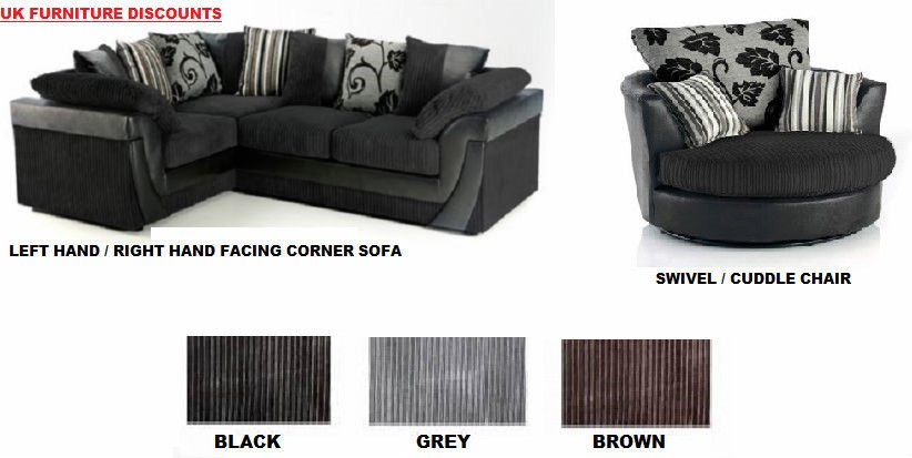 Brand New Lucy Lush Corner Sofa Suite Cuddle Swivel Chair Black clearly within Corner Sofa and Swivel Chairs (Image 3 of 20)