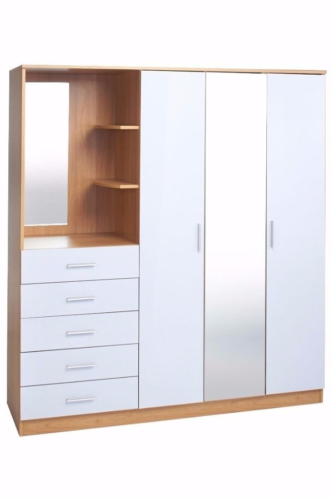 Brand New Oak High Gloss White Combi Unit 3 Door Wardrobe Mirror clearly for Oak Wardrobe With Drawers and Shelves (Image 21 of 30)