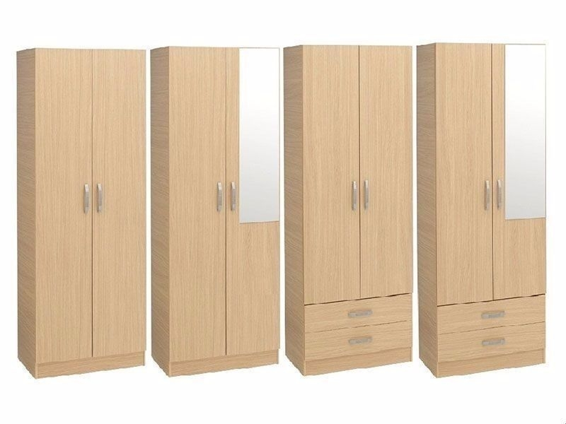 Brand New Pre Assembled 2 Door Wardrobe With Drawers Mirror good with regard to Wardrobes With Shelves And Drawers (Image 17 of 20)