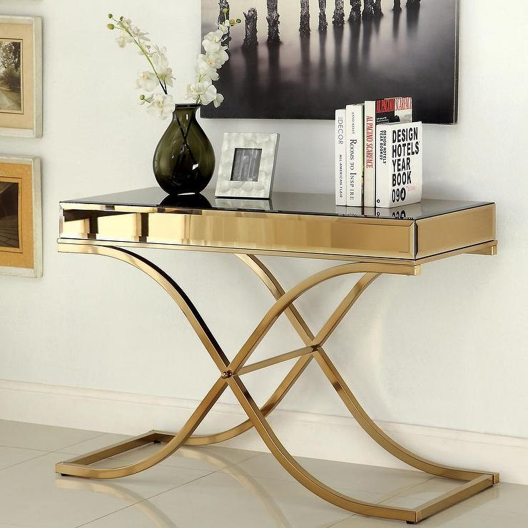 Brass Chrome And Glass Top Console Or Sofa Table For Sale At properly pertaining to Metal Glass Sofa Tables (Image 9 of 20)