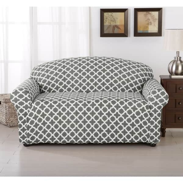 Brenna Collection Trellis Pattern Stretch Form Fitted Sofa Slip certainly with 68 Inch Sofas (Image 6 of 20)