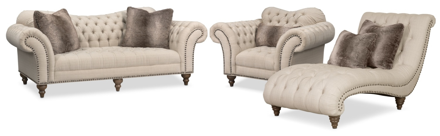 Brittney Sofa Chaise And Chair Set Linen Value City Furniture properly within Sofa And Chair Set (Image 8 of 20)