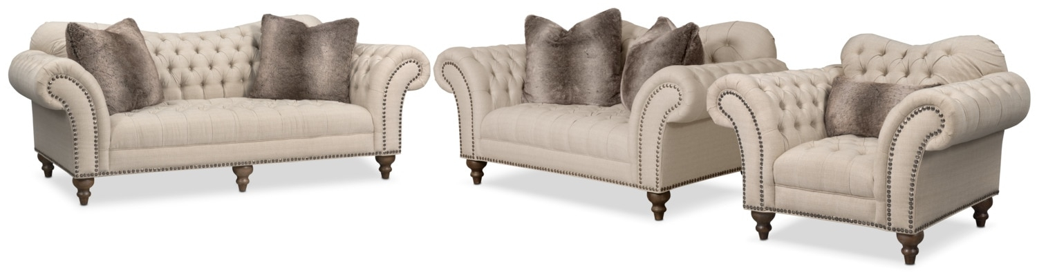 Brittney Sofa Loveseat And Chair Set Linen American Signature definitely regarding Sofa Loveseat and Chairs (Image 9 of 20)