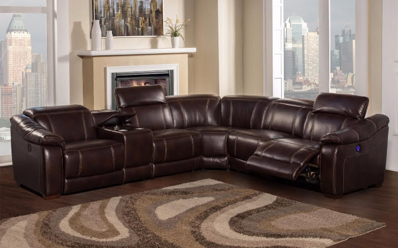 Brooklyn Brown Reclining 6 Piece Sectional Sofa With Bluetooth effectively for 6 Piece Leather Sectional Sofa (Image 4 of 20)