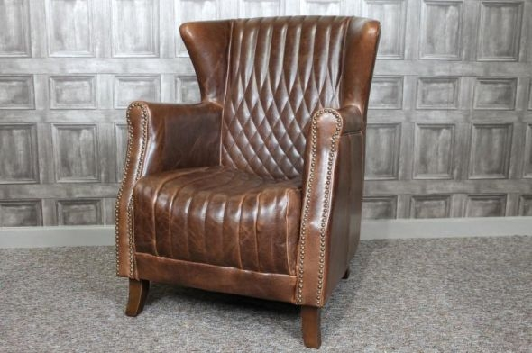 Brown Leather Armchair nicely pertaining to Vintage Leather Armchairs (Image 6 of 20)