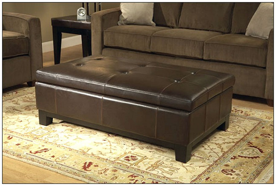 Brown Leather Ottoman Coffee Table Round Brown Leather Ottoman effectively for Brown Leather Ottoman Coffee Tables With Storages (Image 12 of 20)