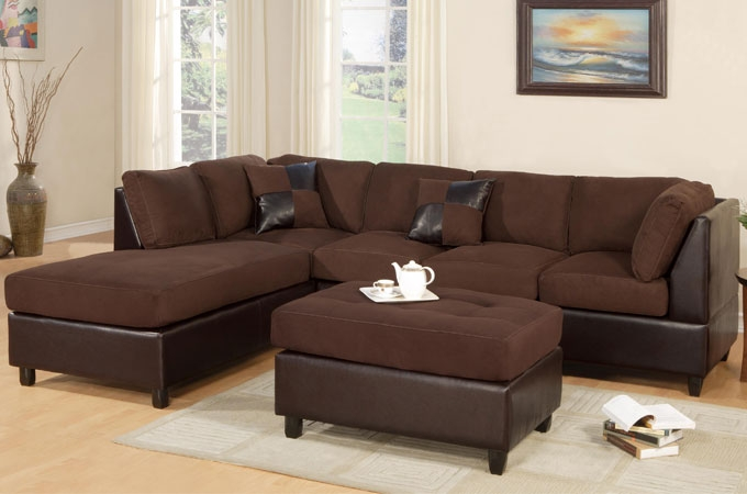 Brown Microfiber Vinyl Sofa Chaise Reversible Sectional S3net effectively intended for Chocolate Brown Sectional Sofa (Image 10 of 20)
