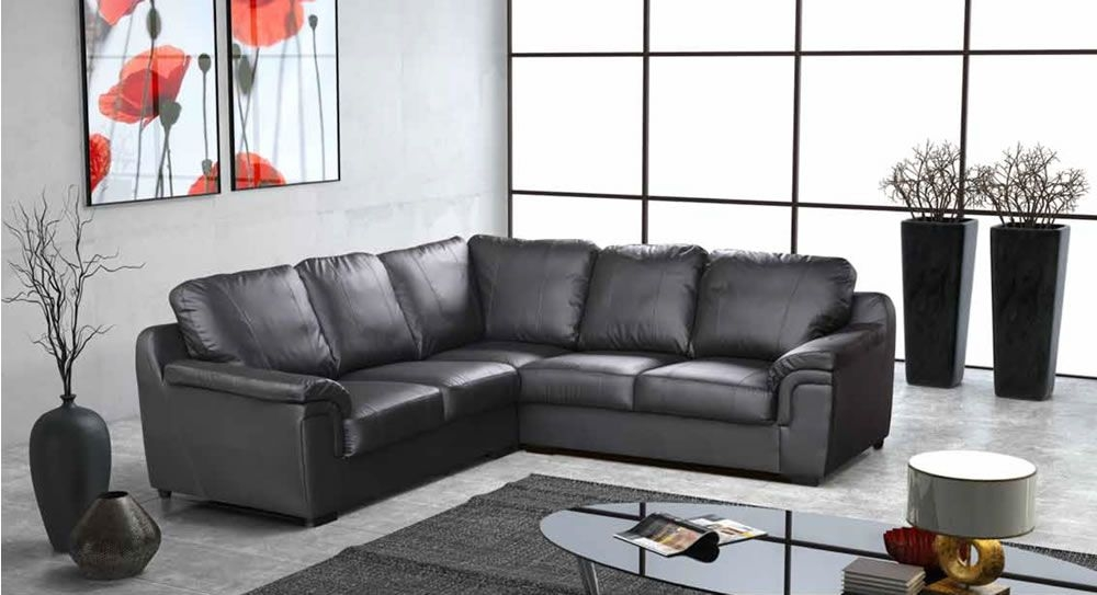 Brown Or Cream Large Leather Corner Sofa Sofas Direct very well intended for Large Black Leather Corner Sofas (Image 6 of 20)