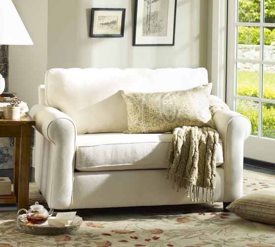 Buchanan Roll Arm Upholstered Twin Sleeper Sofa Pottery Barn effectively with Twin Sleeper Sofa Chairs (Image 4 of 20)
