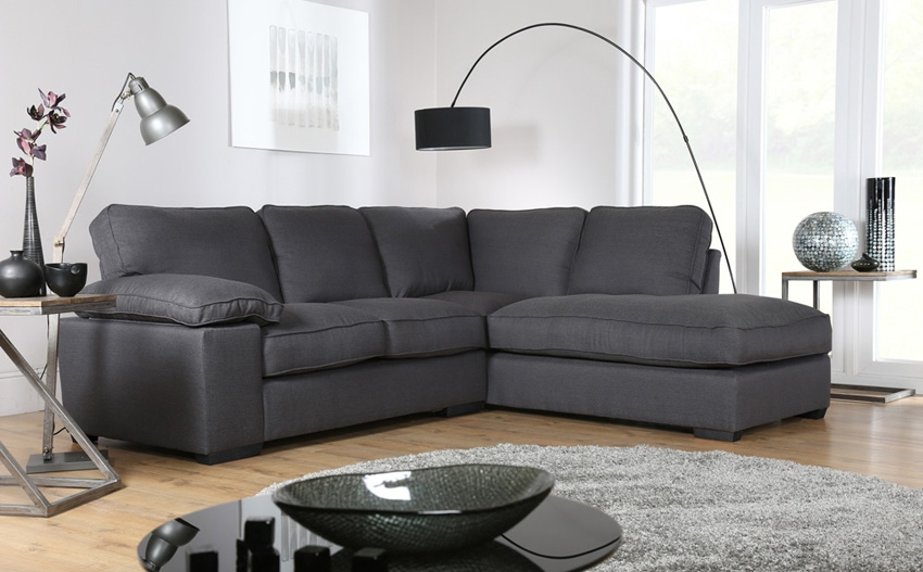 Buoyant Cassie Costa Charcoal Rhf Fabric Corner Sofa Only 89999 well pertaining to Fabric Corner Sofa Bed (Image 2 of 20)