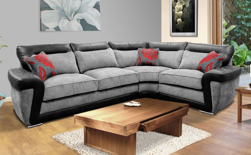 Buoyant Tanisha Slate Lhf Fabric Corner Sofa Only 119999 very well intended for Fabric Corner Sofa Bed (Image 4 of 20)