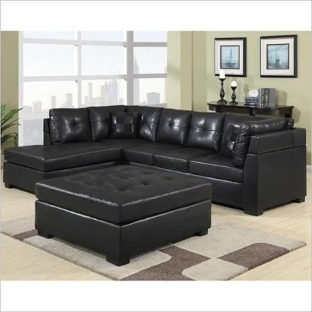 Buy Contemporary Black Leather Sectional Sofa Left Side Chaise definitely within Contemporary Black Leather Sectional Sofa Left Side Chaise (Image 11 of 20)