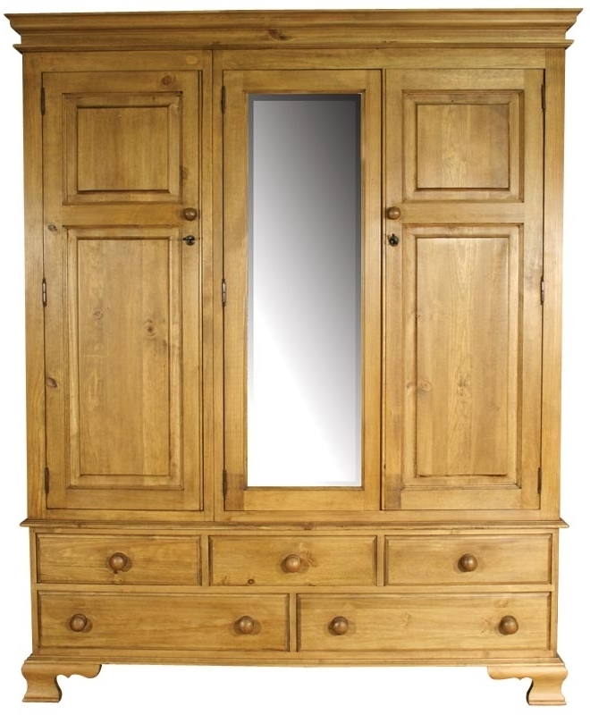 Buy Ogee Pine Wardrobe Triple 3 Doors 5 Drawers Online Cfs Uk most certainly with Pine Wardrobe With Drawers and Shelves (Image 6 of 30)