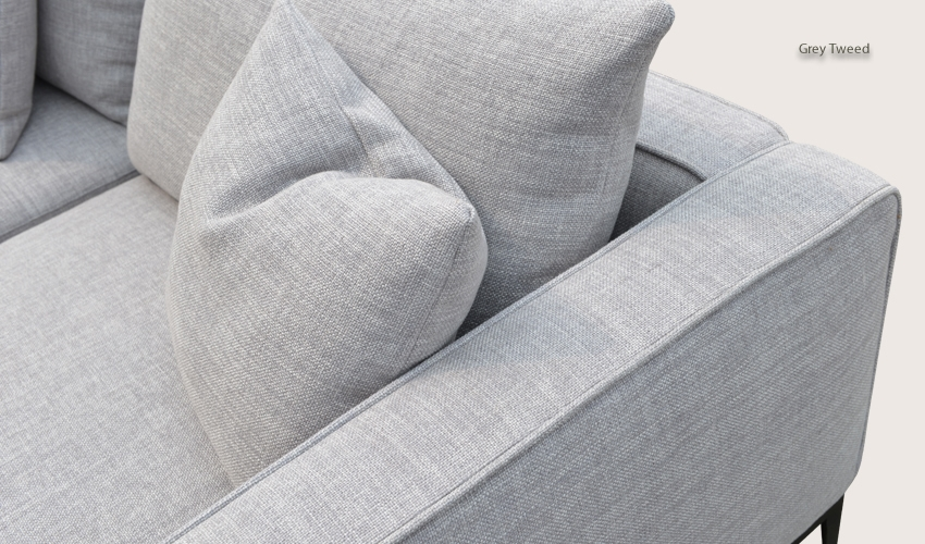 California Sofa In Grey Tweed Fabric Buy Fabric Sofas Living Room definitely within Tweed Fabric Sofas (Image 3 of 20)