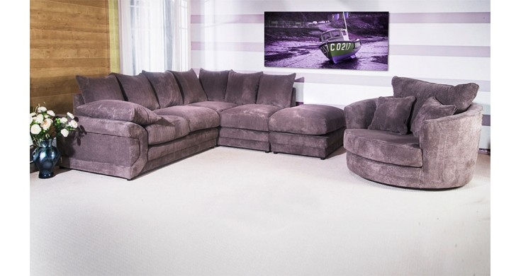 Cammie Fabric Corner Sofa Grey Discounted Couch effectively inside Corner Sofa and Swivel Chairs (Image 7 of 20)