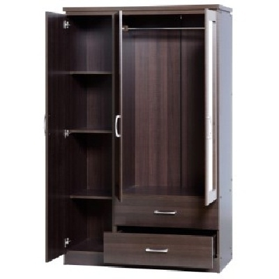 Carlo 3 Door Wardrobe In Walnut With 2 Drawers And Mirrors nicely throughout 3 Door Wardrobe With Drawers And Shelves (Image 10 of 30)