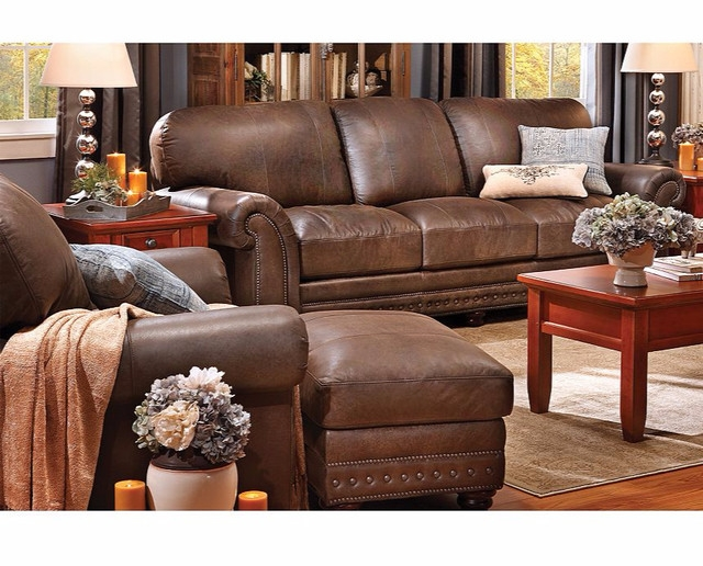 Carson Full Grain Leather Sofa Group Traditional Denver perfectly pertaining to Full Grain Leather Sofas (Image 3 of 20)