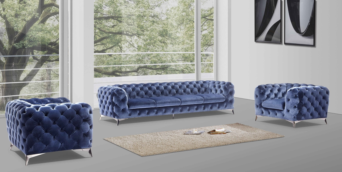 Casa Delilah Modern Blue Sofa Chair Set properly within Sofa And Chair Set (Image 9 of 20)